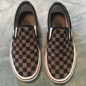 Slip on Black and Grey Checkered Vans for boys